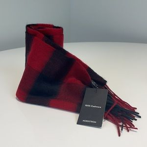 Nordstrom Cashmere red and black buffalo scarf